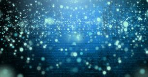 Free Light Sparkles Glowing Over Vignette And Light On Blue Brick Wall Background Stock Photography - 120879042