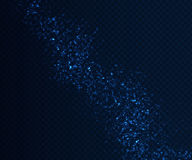 Light sparkling effects on dark transparent background. Shiny blue particles Royalty Free Stock Photos