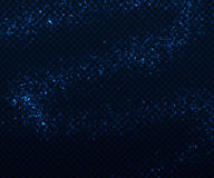 Light sparkling effects on dark transparent background. Shiny blue particles Stock Photos