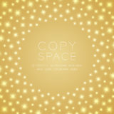 Light sparkling pattern circle shape. Isolated on gold gradient color background, with copy space center Royalty Free Stock Images