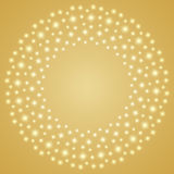 Light sparkling pattern circle shape. Isolated on gold gradient color background, with copy space center Stock Photography