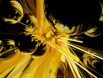 Light Speed Orbs. Exploding spheres that emanate a yellowish series of light beams Stock Photos