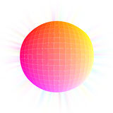 Light sphere. The picture shows a light sphere coloured in red, pink and yellow on white background vector illustration