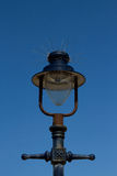 Light with spikes. A lamp post in black with a glass bulb housing complete with anti bird spikes on top Royalty Free Stock Images