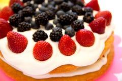 Light sponge cake with white icing and mixed berries strawberri Stock Photos