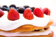 Light sponge cake with white icing and mixed berries strawberri Stock Image