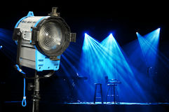 Light and Stage. Incandescent light and stage with bright lights and microphones ready for concert Royalty Free Stock Photo