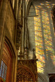 Light from stainglass window on wall Stock Photography