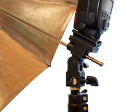 Light stand with flash and umbrella holder Stock Images
