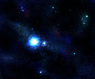 Light star and blue space galaxy Stock Image