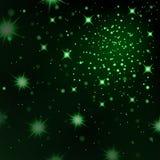Light stars on black background. Green light stars on black background. Abstract bokeh glowing design. Shine bright elements. Shiny fantasy glow in dark. Vector royalty free illustration