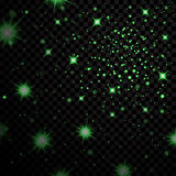 Light stars on black background. Green light stars on black transparent background. Abstract bokeh glowing design. Shine bright elements. Shiny fantasy glow in Stock Photography