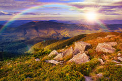 Light on stone mountain slope with forest Stock Images