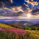 Light on stone mountain slope with forest at sunset Stock Images