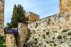 The light stone walls of Jerusalem stock images