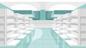 Light store room with empty shelves Stock Images