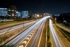 Light streak on highway 5 stock photography