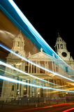 Light streaks from bus, St. Paul's Cathedral, London, UK Royalty Free Stock Photography