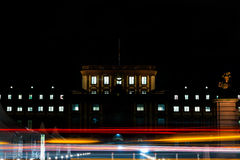 Light Streaks and Movement at Night in Front of Mannheim University. Light Streaks at Night in Front of Mannheim University Stock Photos