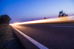 Light streaks on road Stock Image