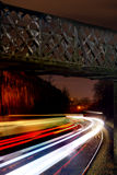 Light streaks of trains at night Royalty Free Stock Photos