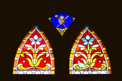 Stained church window panes Stock Photos