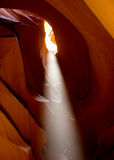 Light streaming in from the top of Upper Antelope Canyon Stock Photography