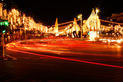 Light on street of Queen birthday celebration in Thailand. Stock Photos