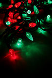 Light Strings. Red and green LED Christmas lights Stock Photos