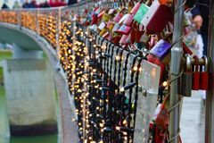 Light strings on Bridge in Advent in Salzburg. stock images
