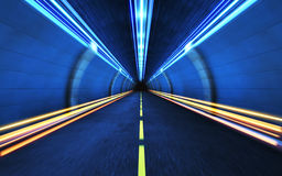Light strips in  tunnel Stock Photo