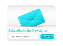 Light subscribe to newsletter website element with blue envelope. Subscribe to newsletter form for websites Stock Images