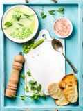 Light summer green pea cream soup in bowl with sprouts, bread toasts and spices. Top view, copy space Stock Image