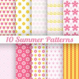 10 Light summer vector seamless patterns (tiling). Fond pink, white and yellow colors. Endless texture can be used for printing onto fabric and paper or royalty free illustration