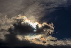 The light of the sun hidden by dense clouds stock images