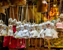 Light the sunny-day dolls. On either side of the street there is a row of light, the dolls to all kinds of expression is very cute and delicate royalty free stock photo