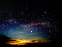 Light of sunset cloud in night sky stars on universe. Light of sunset cloud in night sky and stars on universe Royalty Free Stock Photography