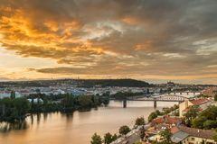 Light sunset sky over Vltava in Prague, Czech republic royalty free stock images