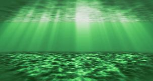 Light through the surface of the green water. Animation of the underwater ocean waves stock footage