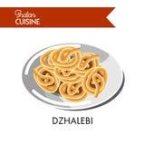 Light sweet dzhalebi on shiny plate isolated illustration. Light sweet dzhalebi on shiny plate isolated cartoon flat vector illustration on white background Stock Images