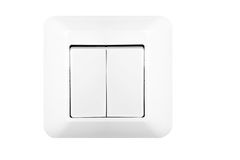 Light switch. Double light switch isolated on white royalty free stock photos