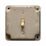 Light switch. Metal light switch box isolated on white stock photos