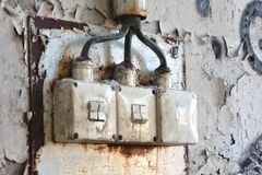 Light switch. In a disused factory in Magdeburg stock photos