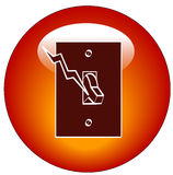 Light switch web icon. Red light switch web button or ion - vector Stock Photography