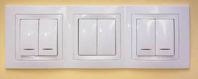 Light switches. Applied on wall royalty free stock photography