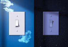 Light switches turned on and off. Light switches turned on off night day Royalty Free Stock Photos