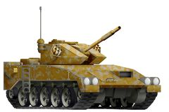 Light tank apc with desert camouflage with fictional design - isolated object on white background. 3d illustration. Light tank apc with desert camouflage Royalty Free Stock Image