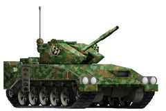 Free Light Tank Apc With Summer Camouflage With Fictional Design - Isolated Object On White Background. 3d Illustration Royalty Free Stock Image - 130252366