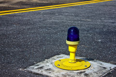 Light on taxiway. Ground side lamp taxiway at the airport Stock Photos