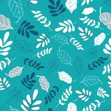 Light Teal Tossed Floral and Leaves Mix Pattern stock illustration